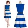 100% cotton sleeveless dot royal blue belt dress ,wholesale clothing women dress