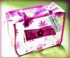 Pink Nylon Zipper PVC Wintersweet Printed Classic Cosmetic Bag