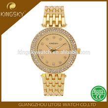 KINGSKY Hot selling full gold diamond ladies watch custom logo women gold watch