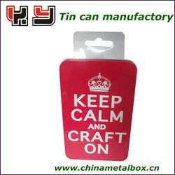 business card tin box,gift tin box with hanger