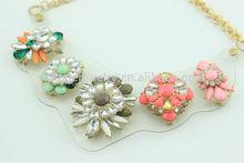 2014 Fashion Crystal Statement Flower Collar Necklace-DGLN501