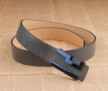 Fashion designer leather belt for men with blue flat buckle