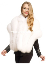 natural real white fox fur shawl, fur scarf with leather inserts
