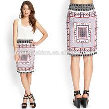2014 wholsale fashion pencil high quality print women skirt