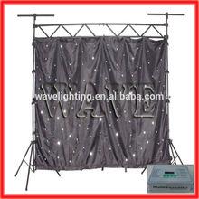 WLK-1W Black fireproof Velvet cloth white leds backdrop design in stage