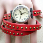 Fashion Style Women Girl Bracelet Wrist Watches Punk Round Revit Cow leather High quality Gift watch
