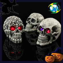 2014 Halloween resin craft art Eyes glowing skull arts and crafts