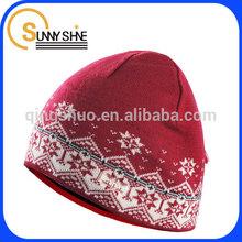 Sunny Shine custom lady Jacquard knit ski caps knitting beanie Hat