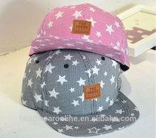 New Custom Stripe Stars 100%Cotton Snapback Caps with Leather Badge