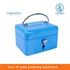 Small Money Lock Box Blue Metal Cash Box With Slot