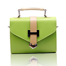 Fashion green mimi hard leather handbag, lady small bag