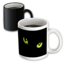 Halloween Cat Designs - Green Eyes of a Black Cat Mugs Design Ceramic