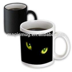 Halloween Cat Designs - Green Eyes of a Black Cat Mugs Design Ceramic