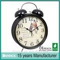 "8"" guangzhou. vintage. bell horloge horloge de table ancienne/double sonnette d'alarme horloge"