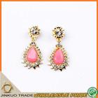 Sweet Big Pink Gemstone Jewelry Earrings New Model Drop Earring for Women EH169
