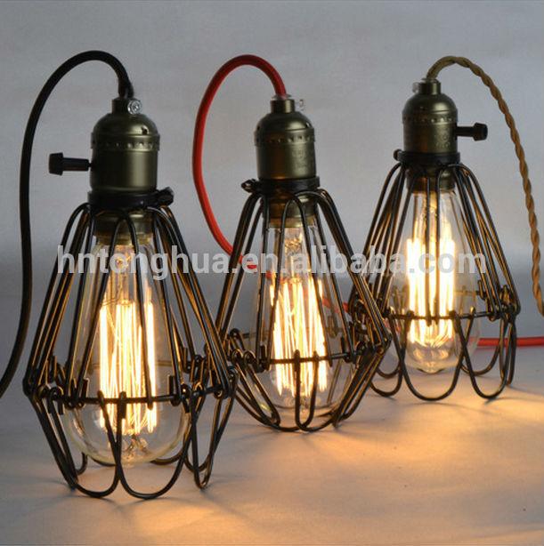 industrial lamp guard cage vintage industrial metal shades. Black Bedroom Furniture Sets. Home Design Ideas