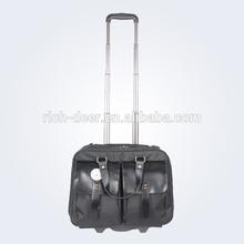 leather decorative fashion trolley laptop bag