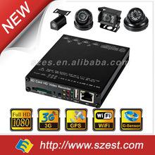 Taxi Car School Bus Truck Police car SD Card 4CH WIFI G-Sensor GPS 3G HD 1080P Mobile DVR manufacturer
