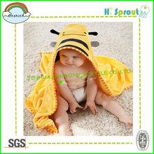 Active Yellow Bee Baby Bath Towel at Home