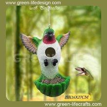 New product resin birdhouse with birdfeeder