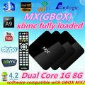 Mx tv kutusu çift çekirdekli mx smartphone akıllı tv kutusu, mx 4.2 android 4.2 max tv kutusu arapça tv kanalları, g-box gece yarısı mx2 xbmc kutusu