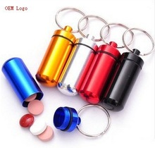 Aluminum pill case,Metal pill box with keychain