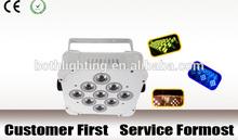 led color changing light 9 pcs RGB 3in1 Wireless DMX LED Flat Par