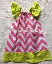 hot pink chevron/ lime dot baby girl dress