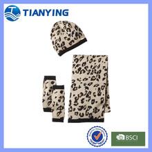 fashion cashmere knitting leopard hat scarf glove set