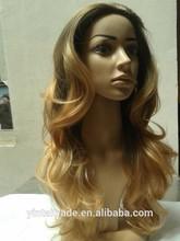 Ombre Half Wig, Long Dark Brown Light Brown Mixed Long Wavy Half 3/4 Wigs