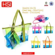 2015 Brand New PVC Fashional Beach Bag Clear Beach Bag shoulder Handbag simming pool purse