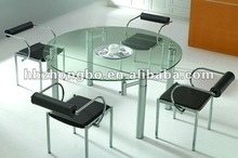 High quality round extendable glass dining table