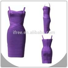 new fashion style lady dress purple girl party bandage dress