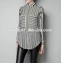 2014 High Quality 100% cotton black stripe women eisure long sleeve shirts designs