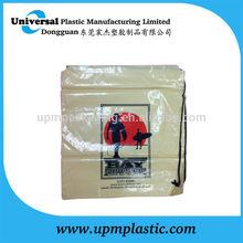Printed Pe plastic single rope drawstring duffle bag