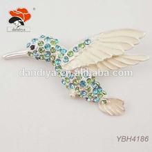 new arrival summer cute rhinestone white enamel bird brooch animal jewelry for women dress