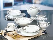 fine porcelain ,royal dinner set for italian , 47pcs silver antique porcelain dinner set