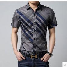 2014ขายส่งเสื้อเชิ้ตแขนสั้นผ้าฝ้าย100%เสื้อมองเห็นสูงเสื้อปุ่ม