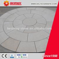 Shandong natural granite paving stone,circle yellow granite paving stone with CE certificate