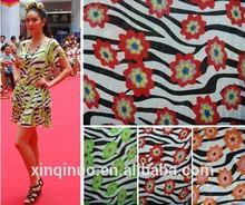Fashionable printed zebra flower design 95% Rayon 5% Spandex fabric