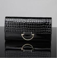 2014 Korean design alibaba stock price elegant genuine crocodile leather wallet with silver accessories for women
