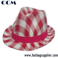Cheap Fashion Checker Printed Paper Children Fedora Hat