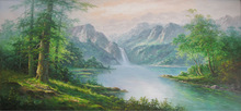 High Definition Natural Scenery Mountain And River Painting