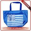 royal blue white stripe waterproof nylon tote bag