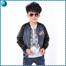 boys zipper denim jacket leather sleeves