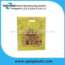 Industrial yellow film die cut handle with turn over top handle plastic PE bag carrier