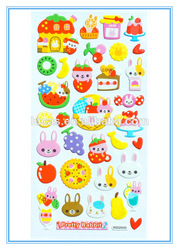 colorful cute rabbits fruit high quality puffy sticker