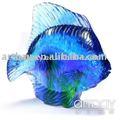 de cristal de vidrio de pescado azul