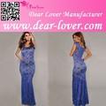 novo sexy azul forrado longa ver através do laço frisado appliqued vestido de noite