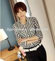 negro y rayas blancas modelos blusas de gasa superior dama ropa fabricante